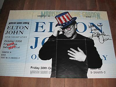 Elton John Promo One Night Only Madison Square Garden Ny Oct. 2000 Ticket Poster