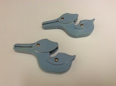 Vintage Blue Crib Blanket Clips.  Ducks.
