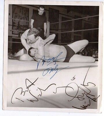 1960's Original Press Photo featuring & HAND SIGNED by Mick McManus Wrestler