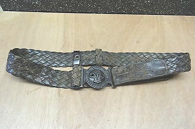 1950`s Boy Scout`s Stitched Leather Belt And Buckle.