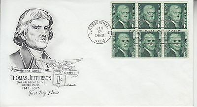 1968 #1299 1c JEFFERSON COIL STRIP FDC ARTMASTER CACHET UA GEM!