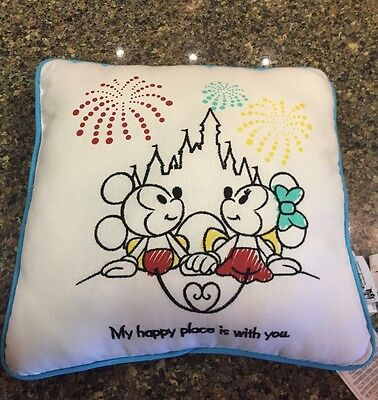 Mickey Minnie My Happy Place is with You Throw Pillow Disney Theme Parks