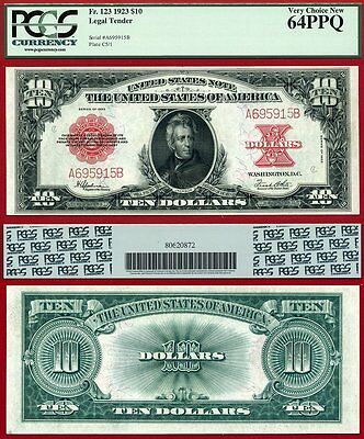 "1923 $10 Legal Tender Note ""The Poker Chip"" FR-123 PCGS Graded CU64PPQ"