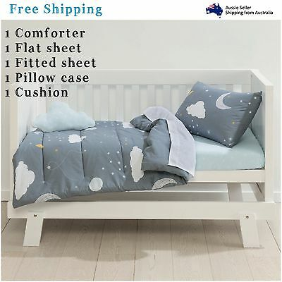 Baby Bedding Cot Set 5 Piece Comforter Nursery Crib Cloud Cushion Night Sky