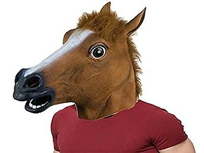 Horse Head Mask Latex Rubber Costume Halloween Gangnam Style Dance Accessory