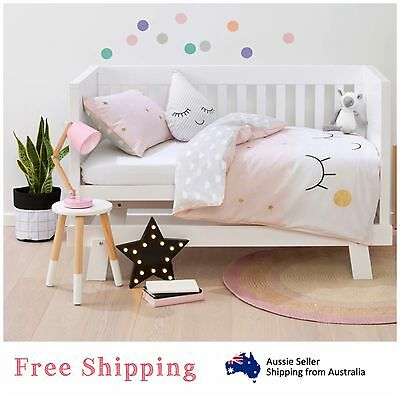 Baby Bedding Cot Bed Set Girls Pink Quilt Cover Pillowcase Nursery Crib