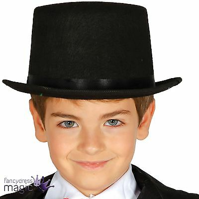 Childrens Boys Girls Black Felt Top Hat Victorian Fancy Dress Costume Accessory