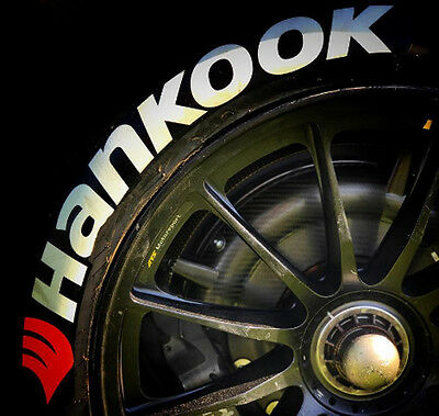 """Tire Stickers - """"HANKOOK"""" - 1.25"""" For 17""""-18"""" Wheels (4 decals)"""