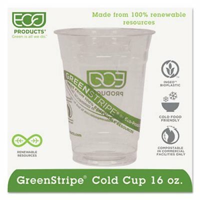 16-oz. GreenStripe Compostable Plastic Cold Cup, 1,000 Cups (ECP EP-CC16-GS)