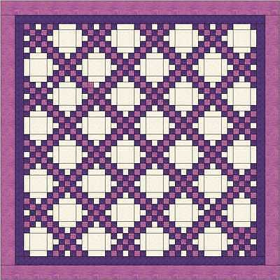 DOUBLE IRISH CHAIN QUILT TOP - Pink and Purple - Not Quilted, Made in USA