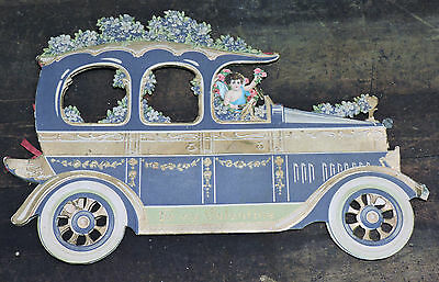 """Scarce Antique 1917 Valentine's Day Card 11"""" Car Cutout Honeycomb German Made"""