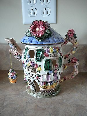 "Tea Pot House Tealite Holder By Elements """"butterfly House 7.5""h X 7.25""w X 5"" L"