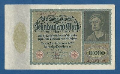 Alemania // Germany -- 10000 Mark ( 19.1.1922 ) -- Ebc- // Vf+ -- Pick 70 .