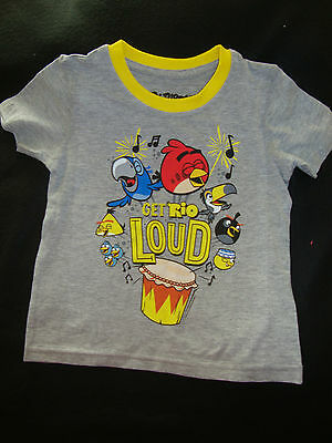 """Angry Birds """"rio""""   Nwts Short Sleeve Graphic Tee Shirt """"get Rio Loud"""""""