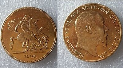 1902 King Edward VII Sovereign £5 Pounds *GOLD PLATED COMMEMORATIVE Copy COIN