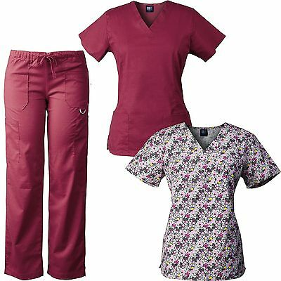MedGear 3-Piece Stretch Scrubs Set with Printed Scrub Top Combo 7895-FPNK