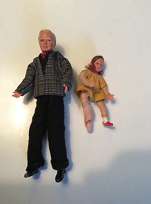 Vintage German Flexible Dolls. Grandpa And Young Girl, Detailed Faces.