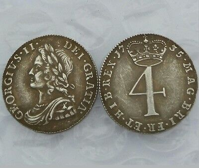 1735 George II 4 Pence *SILVER PLATED COMMEMORATIVE Copy COIN SOUVENIR