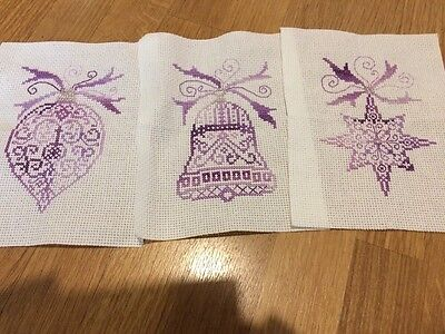 3 Completed Christmas Cross Stitch - Red