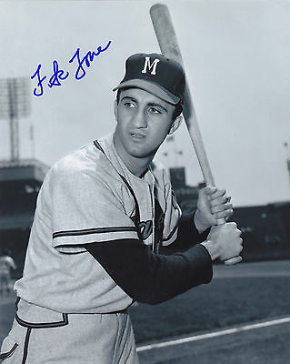 Frank Torre  Milwaukee Braves    Action Signed 8X10