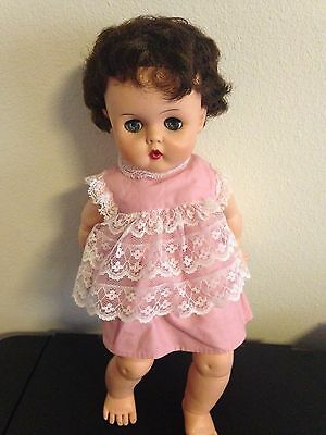 """Vintage Doll- Unknown Maker-Plastic,Sleepy Eyes, Bottle Mouth, 15"""" She Squeaks"""
