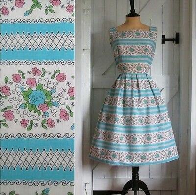 Original Vintage 50s Floral Stripe Print Cotton Summer Day Sun Dress 8 10