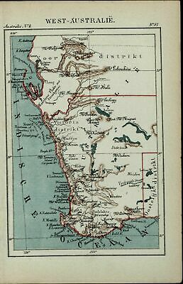 Western Australia New Holland old antique 1882 detailed Dutch color map