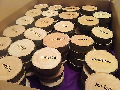 Real Wood Log Slices Personalised Wedding Table Wooden Name Favour Uk Rounds X1