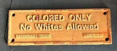 Black Americana Cast Iron Sign Colored Only No Whites Allowed March 1930 Club