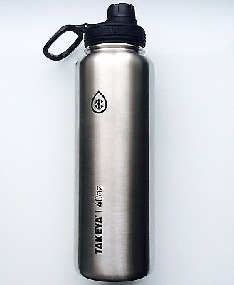 Takeya ThermoFlask Insulated Stainless Steel Water Bottle 40oz, Silver