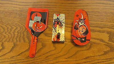 Lot of 3 Vintage metal Halloween noise makers - Owl, Pumpkins, Witch Black Cat