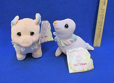 Precious Moments Seal & Pig Circus Birthday Train Tender Tails 2 Yrs 3 Yrs Pair