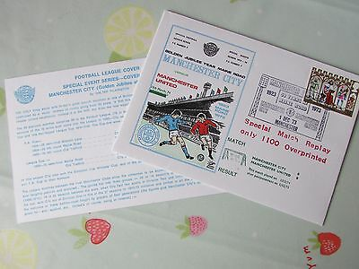 MAN City v Man United 30 Years Maine Road RARE LE 1973 Football First Day Cover