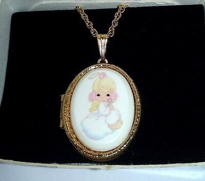 PRECIOUS MOMENTS Angel Goldtone Locket Necklace