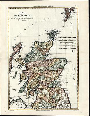 Scotland L'Ecosse British Isles Shetland Orkney Islands c.1780 Bonne old map