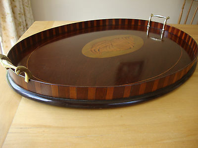 Edwardian Mahogany & Satinwood Marquetry Inlaid Oval Tea Serving Tray