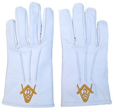 100% Nappa Leather White Masonic Gloves Wedding Cadet Mason Marching Compass
