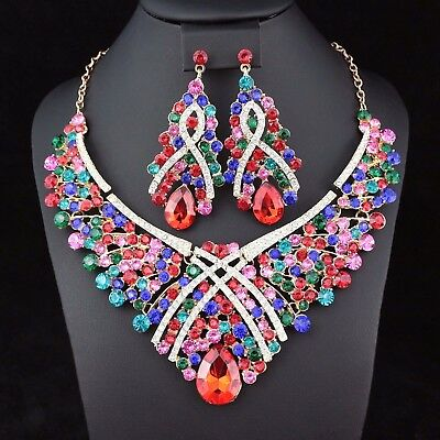 Jewelry Sets Ice Flower Multi-color Crystal Rhinestone Necklace Earrings Set Bridal Prom N33