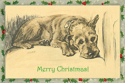 Vintage Irish Terrier Dog 1937 by Lucy Dawson ~ LARGE New Christmas Note Cards
