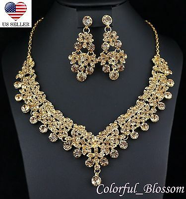 Clovers Gold Austrian Rhinestone Necklace Earrings Set Wedding Bridal Prom N39gg