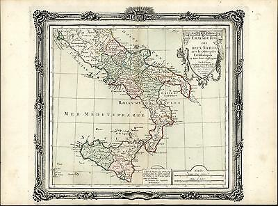 Southern Italy Sicily Naples Calabria 1766 Brion decorative antique color map