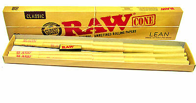 Raw Classic Lean King Size 110mm Cones - 20 per pack NEW Unbleached Natural Gum