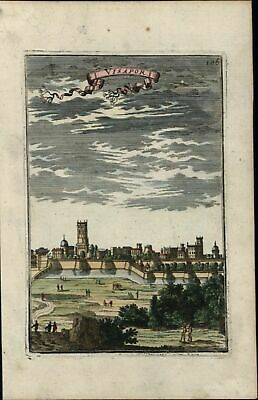 Visapor India city view 1683 Mallet old antique hand color birds-eye panorama