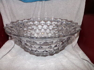 """Vtg Fostoria Glass 14"""" inch Crystal Clear American Pattern Punch Bowl Made USA"""