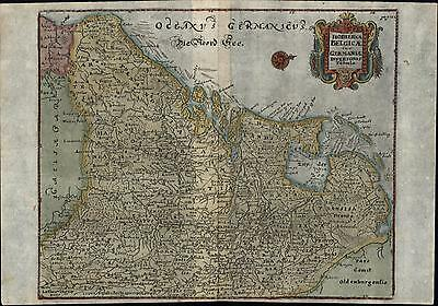 Holland Netherlands Belgium Germany North Sea 1694 Cluver old antique color map