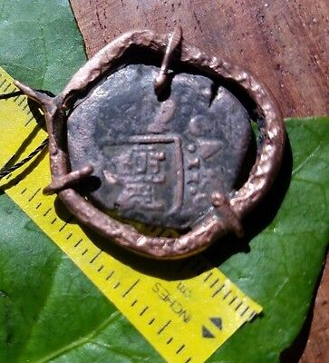 AUTHENTIC SPANISH PIRATE COIN COB PENDANT EARLY TO LATE 1600's HAMMERED COPPER