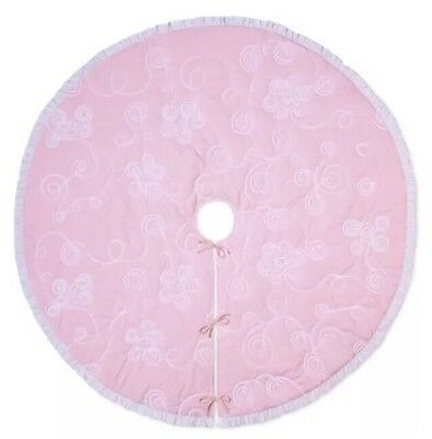 "Simply Shabby Chic 48"" Pink Ribbon Ruffle Christmas Tree Skirt Cottage Victorian"