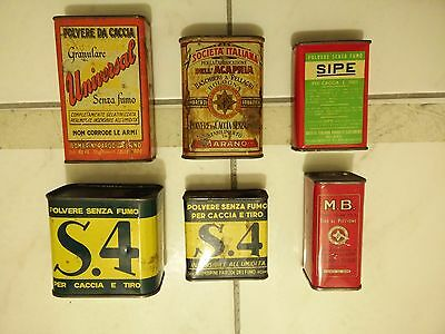 Vintage gun powder tin box can scatola latta caccia polvere LOT