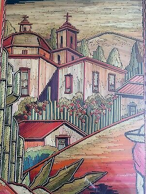 Popotillo Straw Art Painting Picture Mexico Pueblo Cathedral