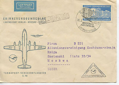 1960 Germany com. cover - First Flight Berlin to Moscow